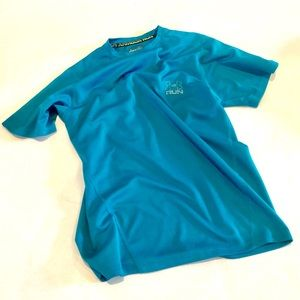Under Armour Run Turquoise Blue Heat Gear Shirt